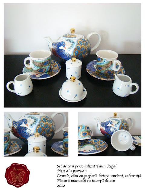 Set de ceai - Paun regal intreg, pictura manuala cu insertii de aur de 24 K