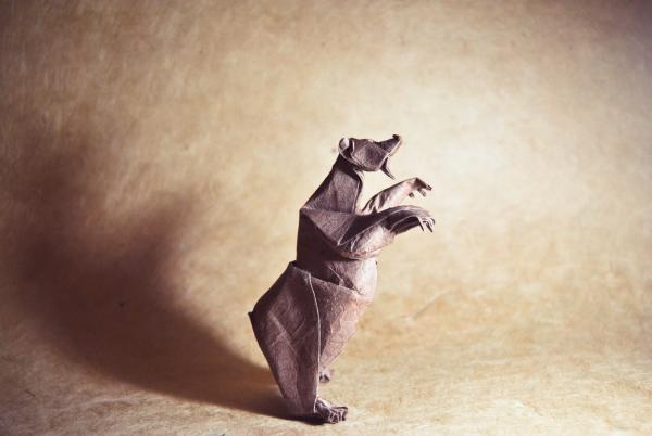 """Origami Grizzly Bear"" design - Quentin Trollip, pliat de Gonzalo Garcia Calvo"